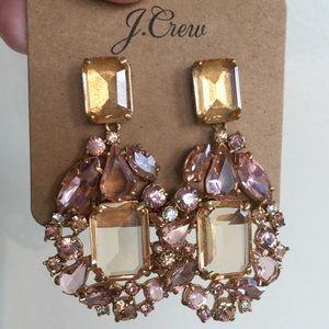 J Crew Cluster Drop Stone Earrings in Warm Blush